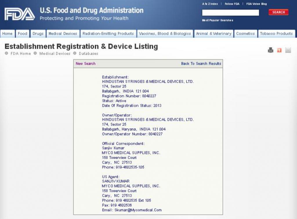 Certification - Hindustan Syringes & Medical Devices Ltd