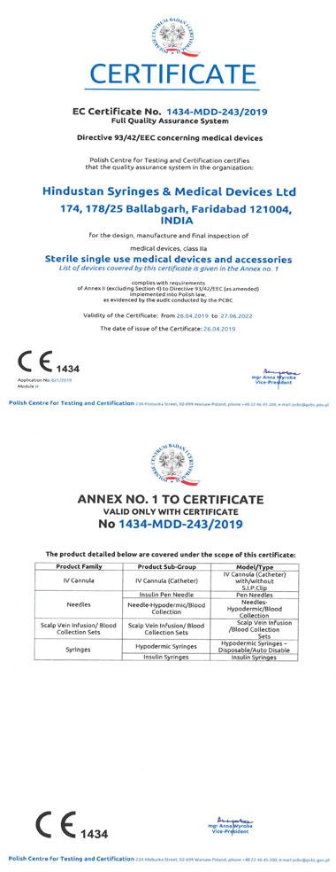HSMD CE Certificate
