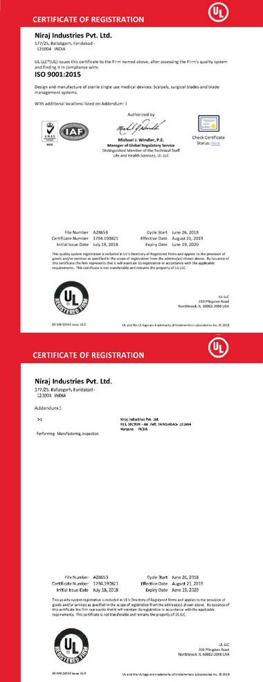 Niraj ISO 9001 Certificate