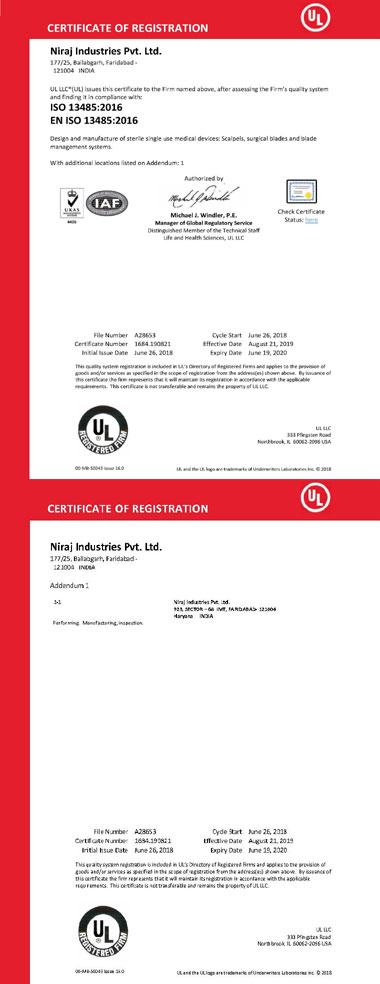 Niraj ISO 13485 Certificate